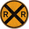 Treno Poster Icona Targhetta Vintage Locomotiva Caratteri Railroad Crossing 639