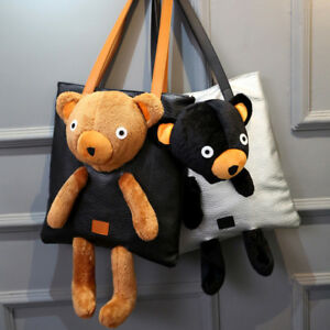 Women's New Fashion Plush Bear Handbag Fashion Cute Cartoon Shoulder Bag