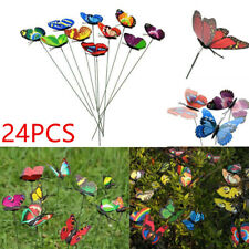 24X New Style Colorful Flowerpot Decor Garden Decoration Butterfly Ornaments UK