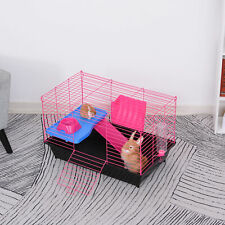 Small Animal Cage Rabbit Hutch Guinea Pig Pet Play House with Platform and Ramp