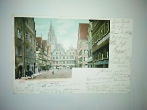 AK Ulm (Donau) Marktplatz mit Museum (1900) Bahnhof-Stempel