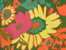 """Vintage Linen Designer Fabric Mod Hippie Flower Power Bold Colors Cohama 73""""x43"""""""