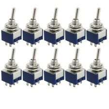 10 Pcs AC 125V 6A Amps ON/ON 6 Terminals 2 Position DPDT Toggle Switch 6 Pins
