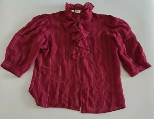 Vintage 90s Blouse Top Puff Sleeve Frill Top Collar Sheer Red Prairie Retro 14 L