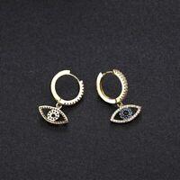 Fashion Gold Color Evil Eye Hoop Earrings Top Quality Blue Crystal Eye Earrings
