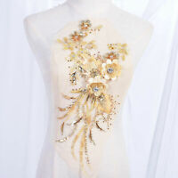 Diamante 3D Flower Appliqué Sequined Embroidery lace Patch for Latin Dress