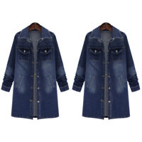 Womens Long Denim Long Jacket Jeans Oversized Trench Coat Overcoat Parka Fashion