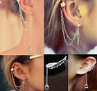 Women Fashion Silver Leaf Chain Tassel Dangle Ear Cuff Earring Jewellery UK
