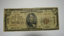 $5 1929 Mascoutah Illinois IL National Currency Bank Note Bill Ch. #13795 RARE!