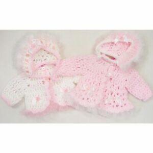 Baby Girls Hand Made Kinder Crochet Pram Coat Cardigan & Bonnet Set 0-3 months
