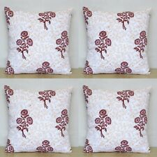 Red Yellow Floral 4 Pcs Indian Hand Block 16x16 Cotton Pillow Case Cushion Cover
