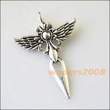 3 New Wings Flower Cross Tibetan Silver Tone Charms Pendants 34x47.5mm