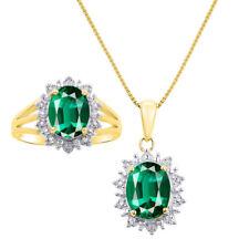 Princess Diana Inspired Halo Diamond & Emerald Matching Pendant Necklace and Ri