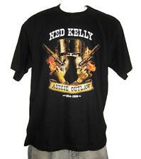Ned Kelly Flames Outlaw Legend Black Short Sleeve Black T Shirt S,M,L,XL,XXL,3XL
