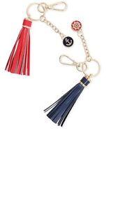 Tassel Key Chain Bag Charm Nautical Theme Red Faux Leather