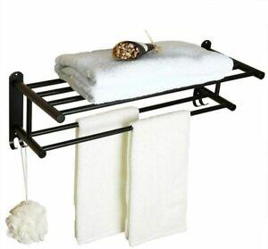 Self-adhesive Bathroom Towel Rack 2 Layer Towel Shelf with 2 Hooks Wall Mounted