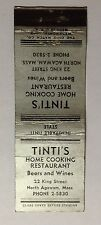 "1 20 Stick Match Cover Empty ""Tintis Restaurant North Acawam Mass "" #24"