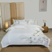 Bedding set 4pcs Silky & cotton duvet cover bed sheet set White color embroidery