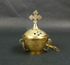 """Carved Cross Hanging Brass Incense Burner 4"""" Censer Resin Church Vestment Altar"""