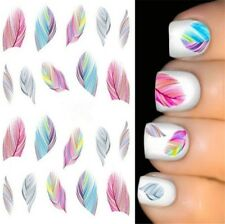 Feather Manicure Nail Art Decals Water Transfer Sticker Rainbow Color Women Girl