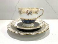 "Salisbury England 3 pc Set ~ Tea Cup / Saucer / 6"" Plate Gold Blue White Vintage"