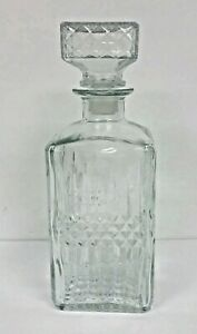 Epure Glass Whiskey Decanter Bottle - 30 Ounce w/ Glass Lid and Plastic Stopper