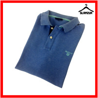 GANT Mens Polo Shirt Blue S Small Cotton Regular Fit Short Sleeve