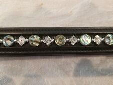 """16"""" Black Leather Browband w/Abalone and Metal Beads"""