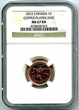 2012 CANADA CENT NGC MS67 RD NON MAGNETIC ZINC LAST YEAR OF ISSUE TOP POPULATION