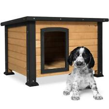 Outdoor Dog House Log Cabin w/ Opening Roof