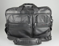 TUMI 'Alpha 2' Black Leather Large Screen Laptop Briefcase - 96114DH