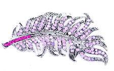 Grande Vintage stile retrò Rosa Crystal Foglia Spilla Pin, grande regalo di Natale