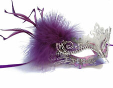Purple and Silver Metal Masquerade Mask with Feather, Eyemask, Costume Accessory