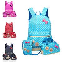 UK 3 Pcs Waterproof Girl School Bags For Teenagers Backpack Shoulder 4 Colours