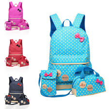 UK 3 Pcs Waterproof Girl School Bags For Teenagers Backpack Shoulder 4 Colours