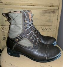 VINTAGE MIZ MOOZ LEATHER CANVAS COMBAT ARMY BOOTS OLIVE LADIES 9 M JUMP FIELD