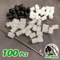 100PCS Adjustable Buckle Stops Elastic Cord + 1 PCS Crochet Hook, For DIY Mask