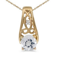 "14k Yellow Gold Round White Topaz And Diamond Pendant with 18"" Chain"