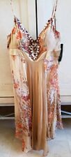 NWT BEIGE SUE WONG SILK DRESS SPAGHETTI STRAPS HANDKERCHIEF HEM SEASHELLS 12
