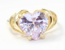 14k Yellow Gold Heart Shaped Stone Ladies Ring