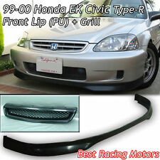 TR Style Front Bumper Lip (Urethane) + TR Style Grill (ABS) Fit 99-00 Civic 3dr