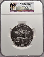 2013 P 5oz Silver 25C Fort McHenry Early Releases SP 70 Perfect!
