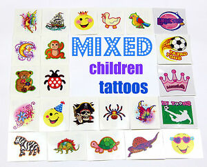 50 MIXED TATTOOS girls and boys charity goody party bag filler temporary child