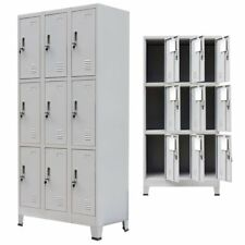 Locker Cabinet 9 Compartments Steel Storage Gym Metal School Cupboard Mirror Key