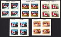 FLAG OVER = Canada 1989-1993 ISSUES = MNH BLOCKS OF 4 w/COLOR ID from BKLT