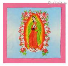 Virgin of Guadalupe, Virgin Mary Mexican scarf pink frame colorful FABRIC