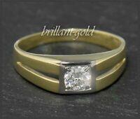 Diamant Brillant 0,23ct Damen Solitär Ring, 585 Gold, Weißgold & Gelbgold