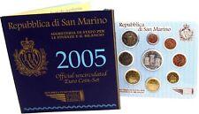 San Marino 1 Cent bis 2 Euro 2005 KMS mit 5 Euro Onofri Silbermünze Stempelglanz