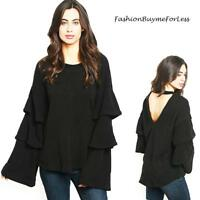 Haute Sweater Knit Top Hippie Layers Long Ruffle Bell Sleeve Open Back S M L XL