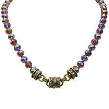 Kirks Folly Amber Purple Mist Beaded Magnetic Necklace Brasstone